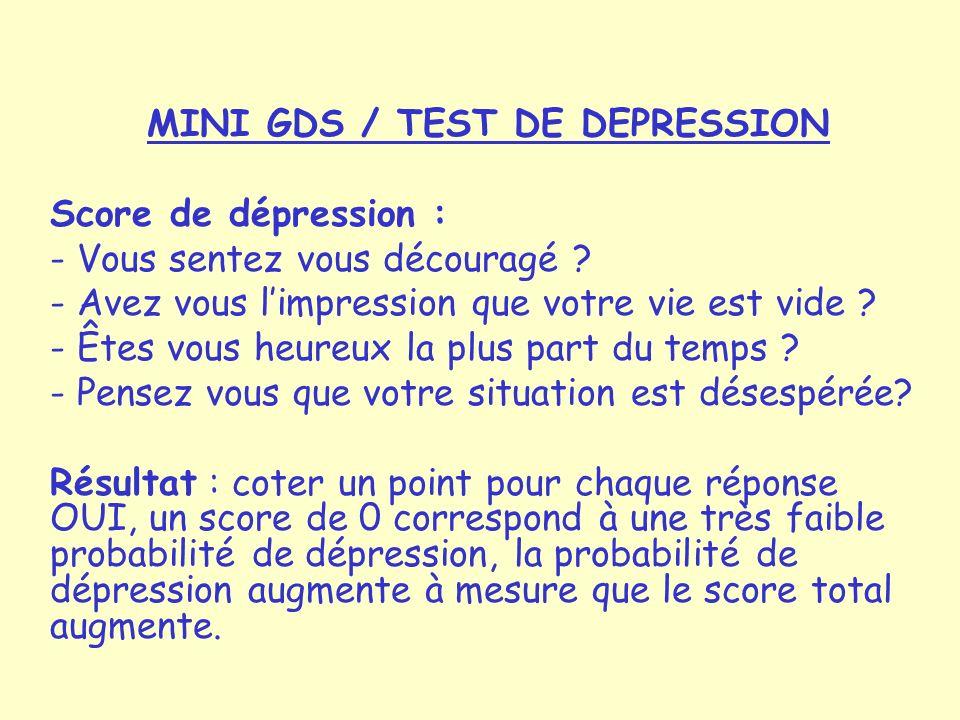 MINI GDS / TEST DE DEPRESSION Score de dépression : - Vous sentez vous découragé .