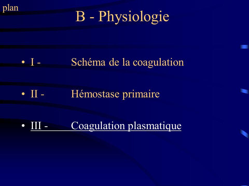 B - Physiologie I - Schéma de la coagulation II - Hémostase primaire III - Coagulation plasmatique plan