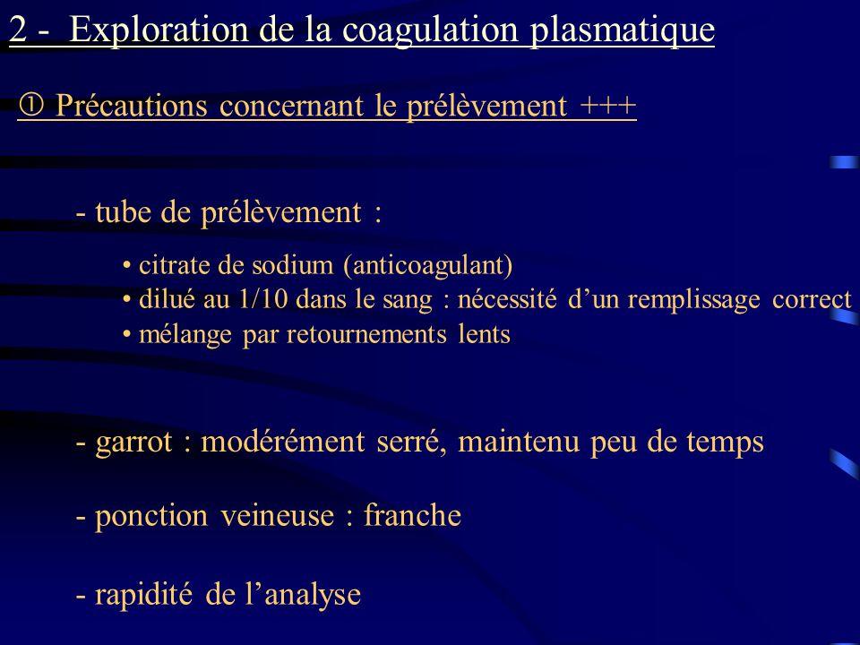 2 - Exploration de la coagulation plasmatique Précautions concernant le prélèvement +++ - garrot : modérément serré, maintenu peu de temps - ponction