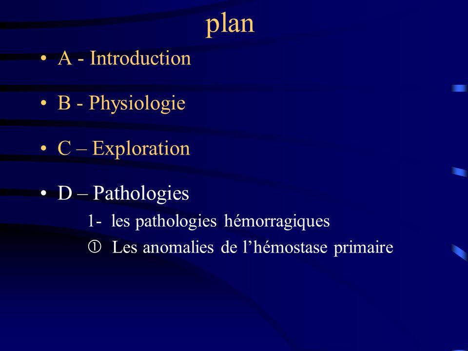 plan A - Introduction B - Physiologie C – Exploration D – Pathologies 1- les pathologies hémorragiques Les anomalies de lhémostase primaire