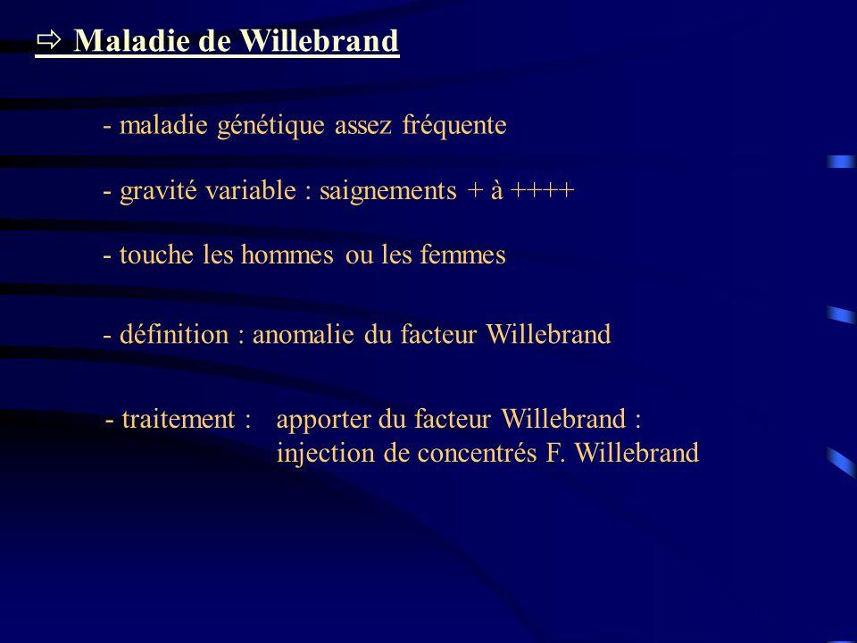 Maladie de Willebrand - maladie génétique assez fréquente - gravité variable : saignements + à ++++ - touche les hommes ou les femmes - définition : a