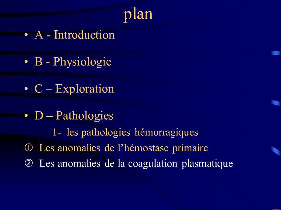 plan A - Introduction B - Physiologie C – Exploration D – Pathologies 1- les pathologies hémorragiques Les anomalies de lhémostase primaire Les anomal