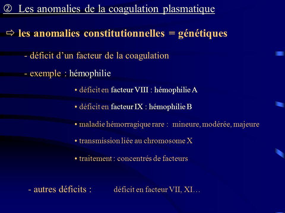 les anomalies constitutionnelles = génétiques Les anomalies de la coagulation plasmatique - déficit dun facteur de la coagulation - exemple : hémophil