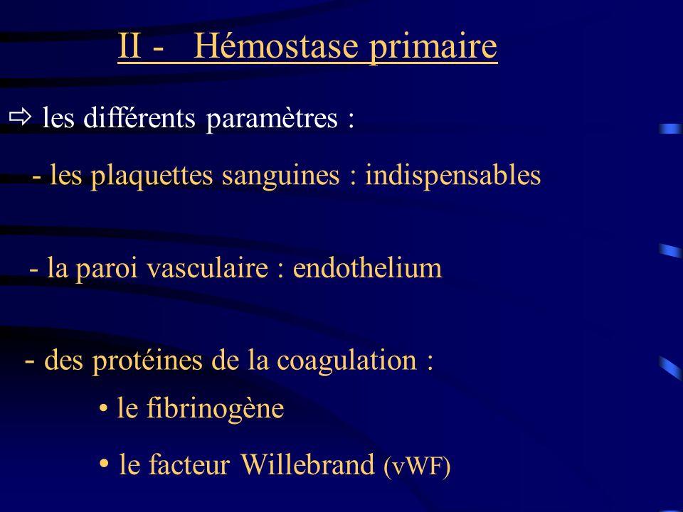 II - Hémostase primaire les différents paramètres : - les plaquettes sanguines : indispensables - la paroi vasculaire : endothelium - des protéines de