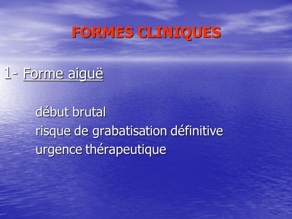 FORMES CLINIQUES 1- Forme aiguë début brutal début brutal risque de grabatisation définitive risque de grabatisation définitive urgence thérapeutique