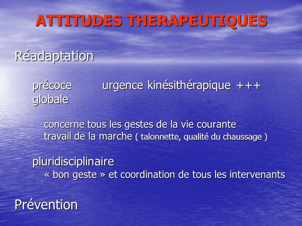 ATTITUDES THERAPEUTIQUES Réadaptation précoce urgence kinésithérapique +++ précoce urgence kinésithérapique +++ globale globale concerne tous les gest