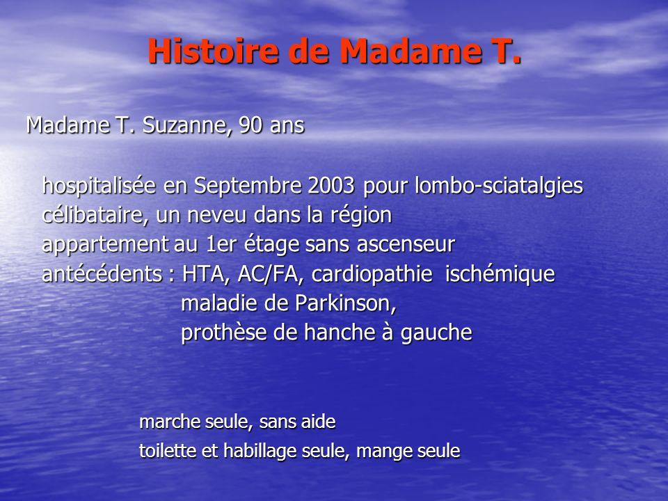 Histoire de Madame T. Madame T. Suzanne, 90 ans Madame T. Suzanne, 90 ans hospitalisée en Septembre 2003 pour lombo-sciatalgies hospitalisée en Septem