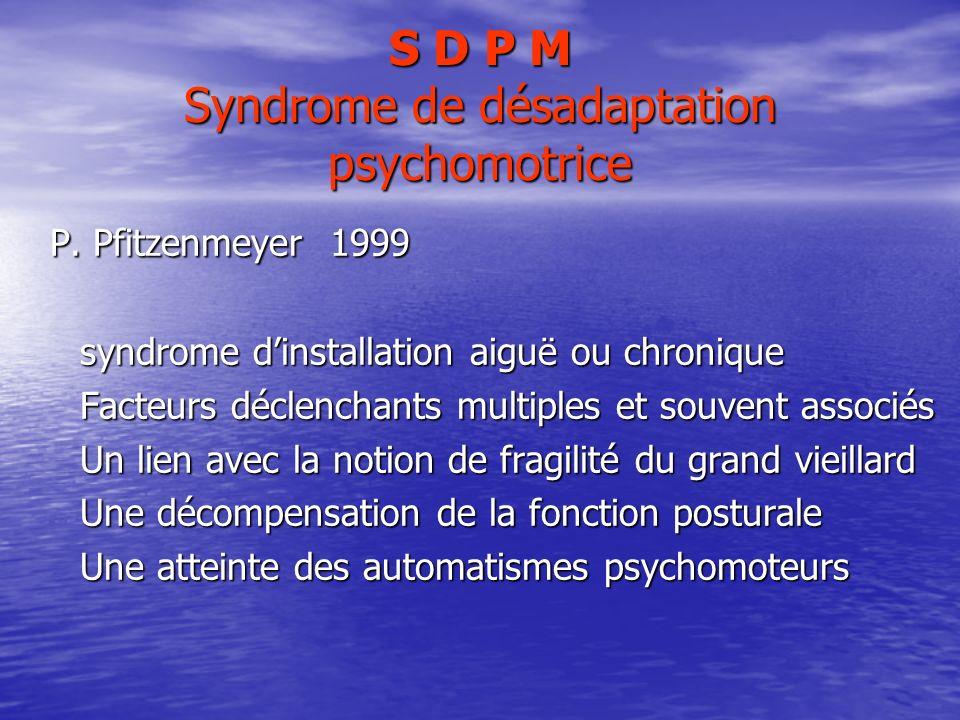 S D P M Syndrome de désadaptation psychomotrice P. Pfitzenmeyer 1999 P. Pfitzenmeyer 1999 syndrome dinstallation aiguë ou chronique syndrome dinstalla