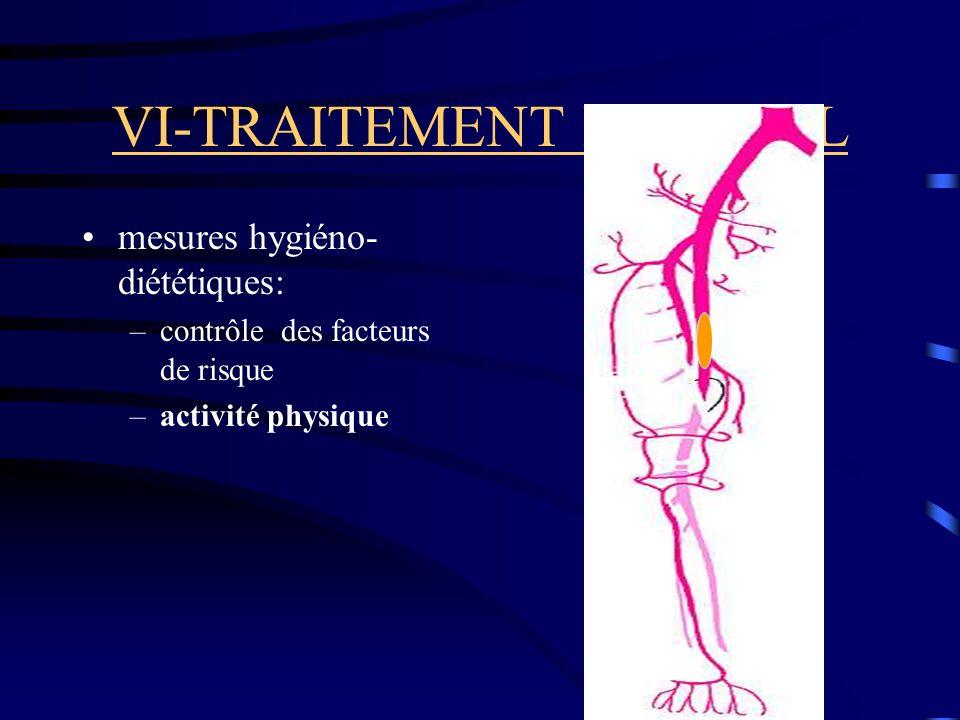 VI-TRAITEMENT MEDICAL mesures hygiéno- diététiques: –contrôle des facteurs de risque –activité physique