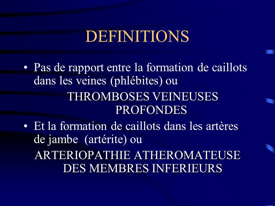 DEFINITIONS Pas de rapport entre la formation de caillots dans les veines (phlébites) ou THROMBOSES VEINEUSES PROFONDES Et la formation de caillots dans les artères de jambe (artérite) ou ARTERIOPATHIE ATHEROMATEUSE DES MEMBRES INFERIEURS