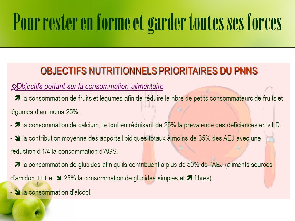 Dénutrition, perte de poids, baisse dappétit Si MNA > = 12/14 ou MNA > 23,5/30: peu risque de dénutrition Surveiller régulièrement le poids, ainsi qualimentation et lhydratation.