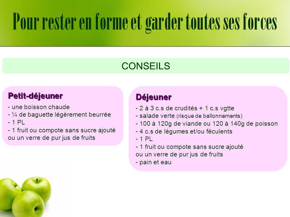 Pour rester en forme et garder toutes ses forces CONSEILS Collation - une boisson chaude -1 PL Dîner - 2 à 3 c.s de crudités + 1 c.s vgtte ou un bol de potage - salade verte (risque de ballonnements) - 80g de viande ou 100g de poisson ou 2 œufs ou 1½ tranche de jambon blanc - 4 c.s de légumes et/ou féculents - 1 PL - 1 fruit ou compote sans sucre ajouté ou un verre de pur jus de fruits - pain et eau PAS FECULENTS MIDI ET SOIR