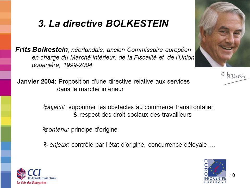 10 3. La directive BOLKESTEIN Frits Bolkestein, néerlandais, ancien Commissaire européen en charge du Marché intérieur, de la Fiscalité et de l'Union