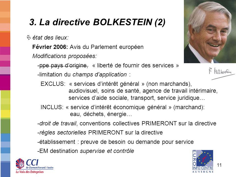 11 état des lieux: Février 2006: Avis du Parlement européen Modifications proposées: -ppe pays dorigine, « liberté de fournir des services » -limitati