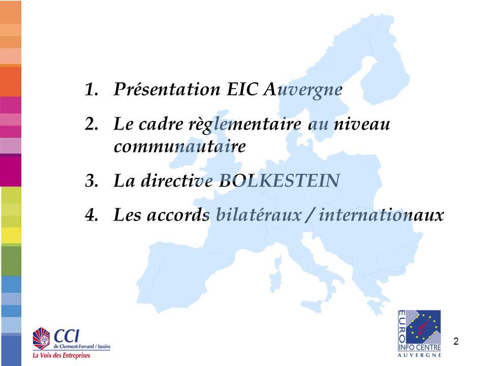 2 1.Présentation EIC Auvergne 2.Le cadre règlementaire au niveau communautaire 3.La directive BOLKESTEIN 4.Les accords bilatéraux / internationaux