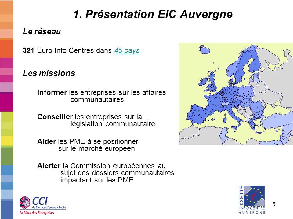 3 1. Présentation EIC Auvergne Le réseau 321 Euro Info Centres dans 45 pays45 pays Les missions Informer les entreprises sur les affaires communautair