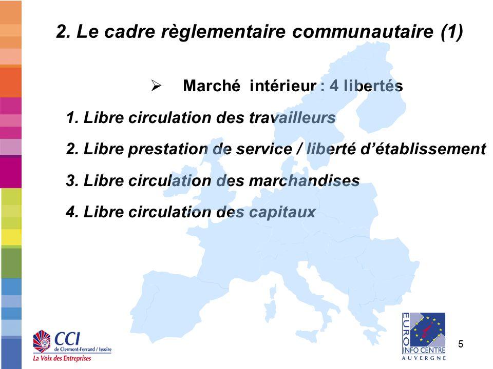 5 2. Le cadre règlementaire communautaire (1) Marché intérieur : 4 libertés 1. Libre circulation des travailleurs 2. Libre prestation de service / lib