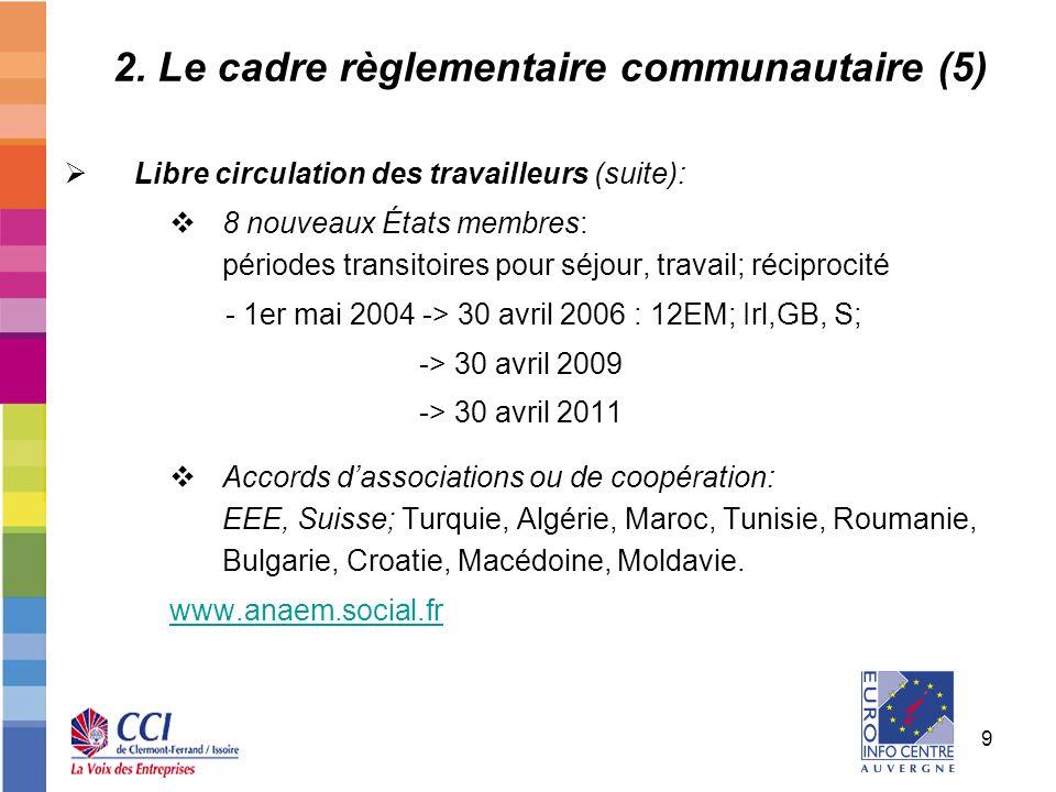 9 2. Le cadre règlementaire communautaire (5) Libre circulation des travailleurs (suite): 8 nouveaux États membres: périodes transitoires pour séjour,
