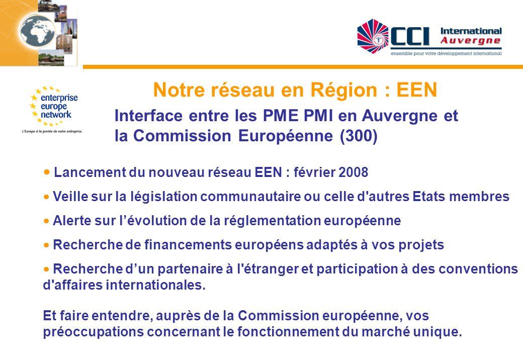 Notre réseau en Région : EEN Interface entre les PME PMI en Auvergne et la Commission Européenne (300) Lancement du nouveau réseau EEN : février 2008