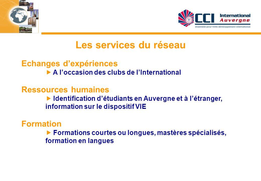 Les services du réseau Echanges dexpériences A loccasion des clubs de lInternational Ressources humaines Identification détudiants en Auvergne et à lé