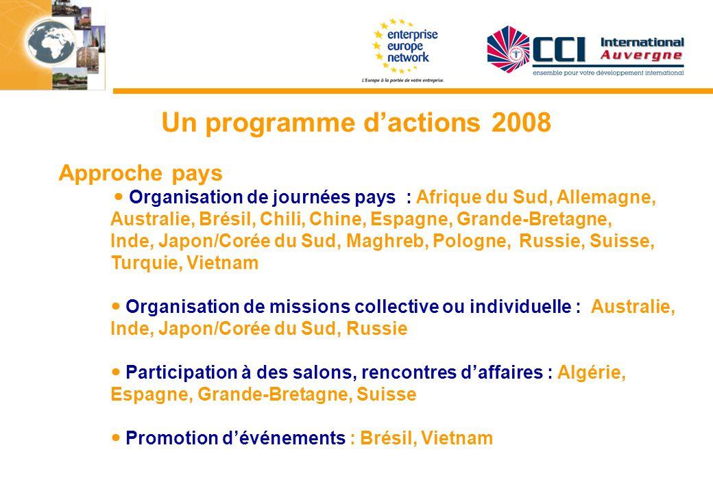 Un programme dactions 2008 Approche pays Organisation de journées pays : Afrique du Sud, Allemagne, Australie, Brésil, Chili, Chine, Espagne, Grande-B