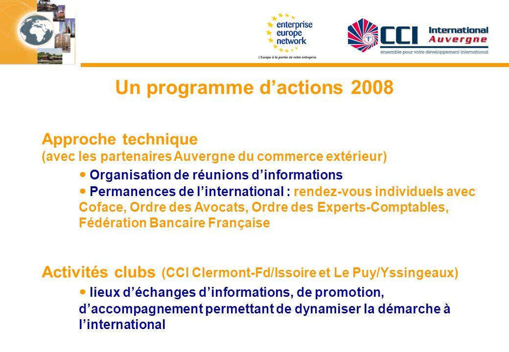Un programme dactions 2008 Approche technique (avec les partenaires Auvergne du commerce extérieur) Organisation de réunions dinformations Permanences
