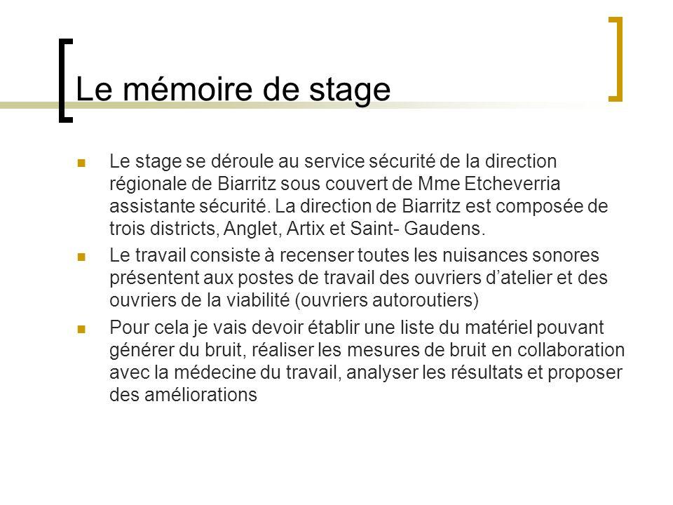 Le mémoire de stage Le stage se déroule au service sécurité de la direction régionale de Biarritz sous couvert de Mme Etcheverria assistante sécurité.