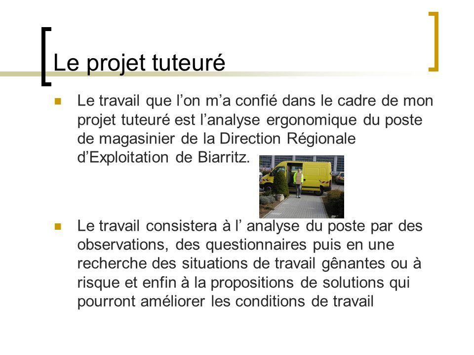 Le projet tuteuré Le travail que lon ma confié dans le cadre de mon projet tuteuré est lanalyse ergonomique du poste de magasinier de la Direction Régionale dExploitation de Biarritz.