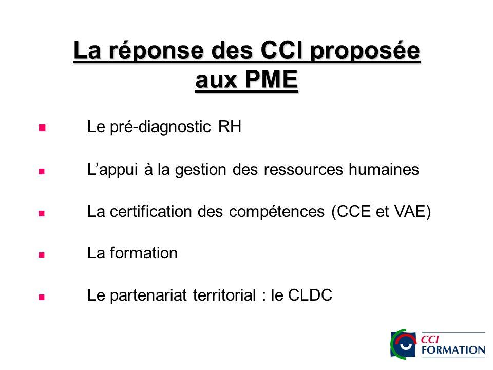 La réponse des CCI proposée aux PME Le pré-diagnostic RH Lappui à la gestion des ressources humaines La certification des compétences (CCE et VAE) La formation Le partenariat territorial : le CLDC