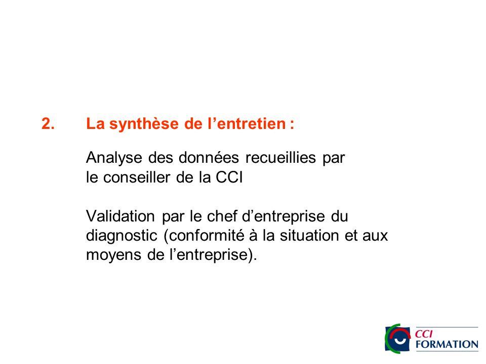 2.La synthèse de lentretien : Analyse des données recueillies par le conseiller de la CCI Validation par le chef dentreprise du diagnostic (conformité à la situation et aux moyens de lentreprise).