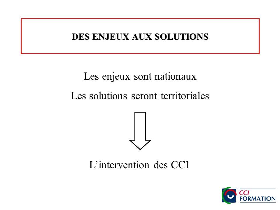 DES ENJEUX AUX SOLUTIONS Les enjeux sont nationaux Les solutions seront territoriales Lintervention des CCI