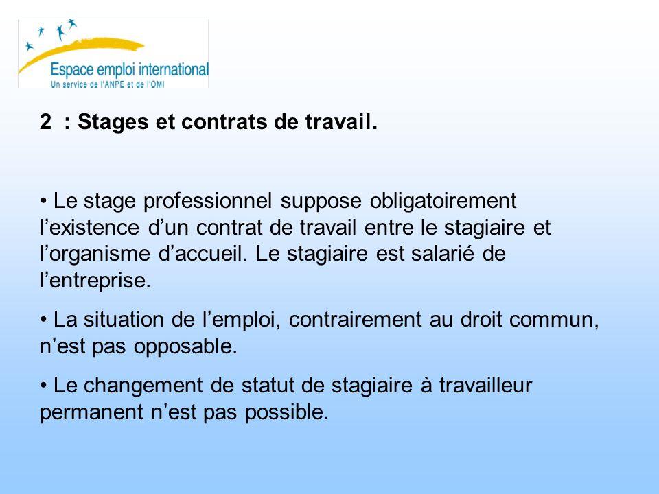 2 : Stages et contrats de travail. Le stage professionnel suppose obligatoirement lexistence dun contrat de travail entre le stagiaire et lorganisme d