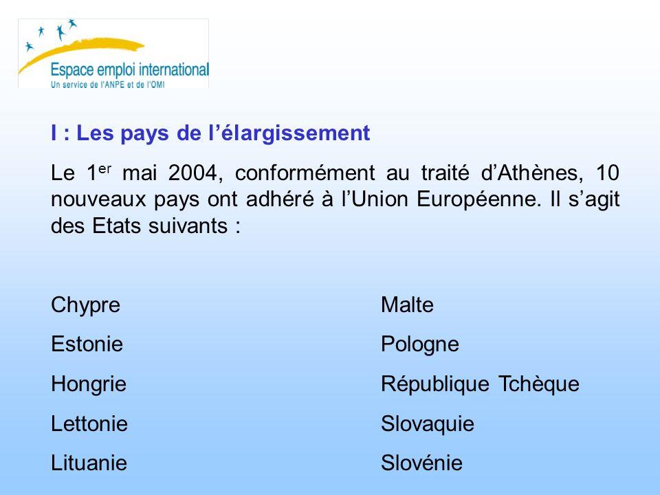 I : Les pays de lélargissement Le 1 er mai 2004, conformément au traité dAthènes, 10 nouveaux pays ont adhéré à lUnion Européenne. Il sagit des Etats