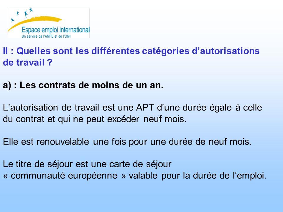 II : Quelles sont les différentes catégories dautorisations de travail ? a) : Les contrats de moins de un an. Lautorisation de travail est une APT dun