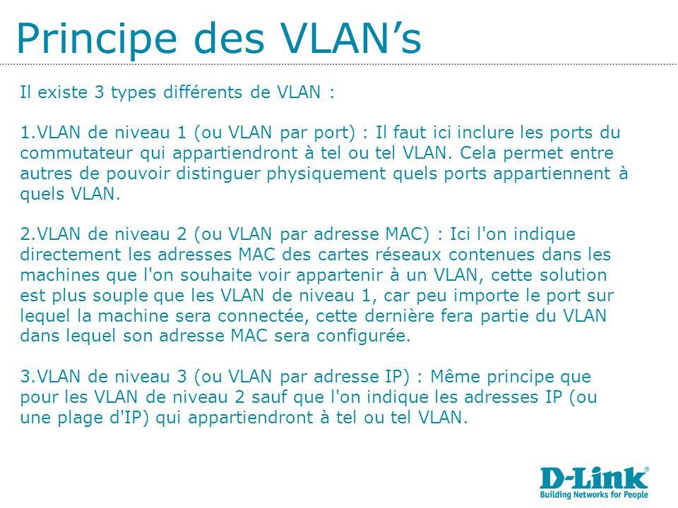 Il existe 3 types différents de VLAN : 1.VLAN de niveau 1 (ou VLAN par port) : Il faut ici inclure les ports du commutateur qui appartiendront à tel ou tel VLAN.