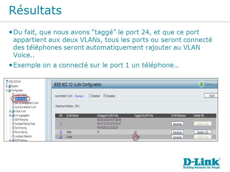 Résultats Du fait, que nous avons taggé le port 24, et que ce port appartient aux deux VLANs, tous les ports ou seront connecté des téléphones seront automatiquement rajouter au VLAN Voice..