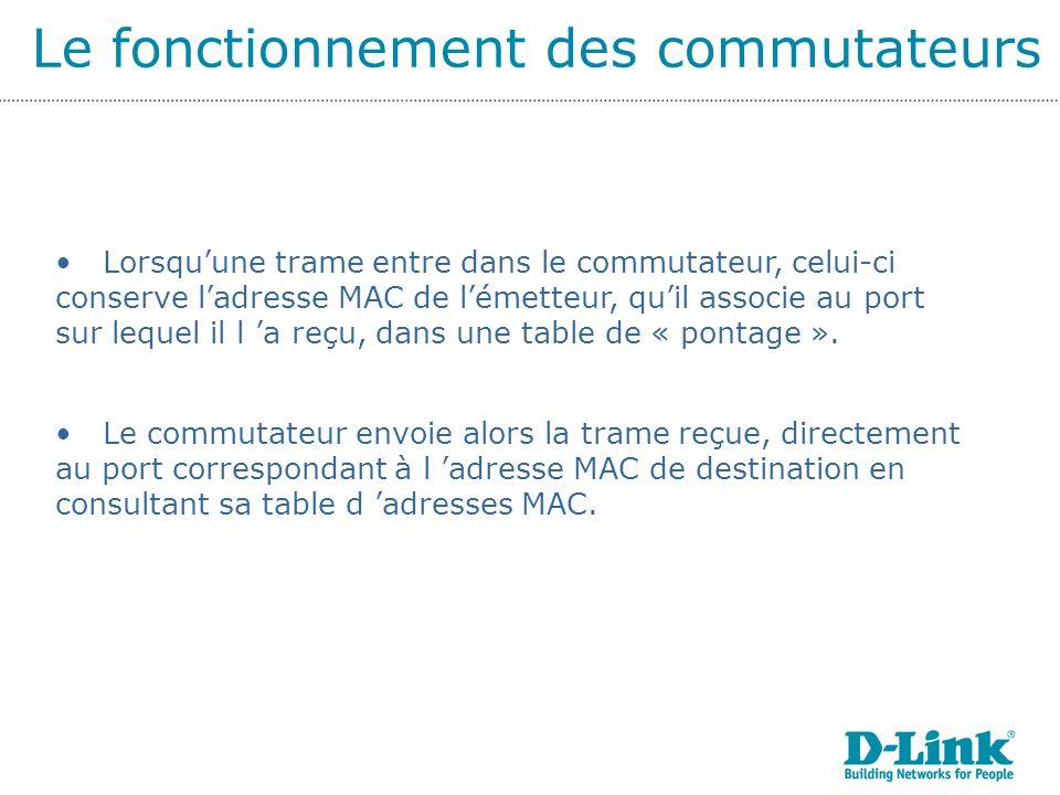 Le fonctionnement des commutateurs Lorsquune trame entre dans le commutateur, celui-ci conserve ladresse MAC de lémetteur, quil associe au port sur lequel il l a reçu, dans une table de « pontage ».