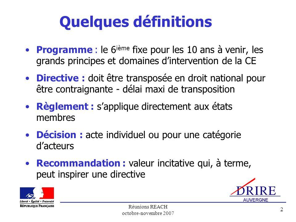 Réunions REACH octobre-novembre 2007 2 Quelques définitions Programme : le 6 ième fixe pour les 10 ans à venir, les grands principes et domaines dinte
