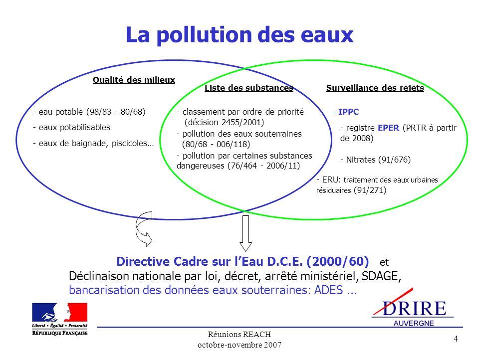 Réunions REACH octobre-novembre 2007 4 La pollution des eaux Liste des substances - classement par ordre de priorité (décision 2455/2001) - pollution