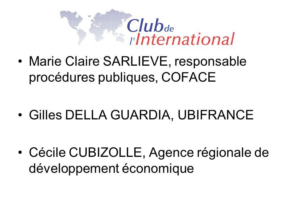 Marie Claire SARLIEVE, responsable procédures publiques, COFACE Gilles DELLA GUARDIA, UBIFRANCE Cécile CUBIZOLLE, Agence régionale de développement éc