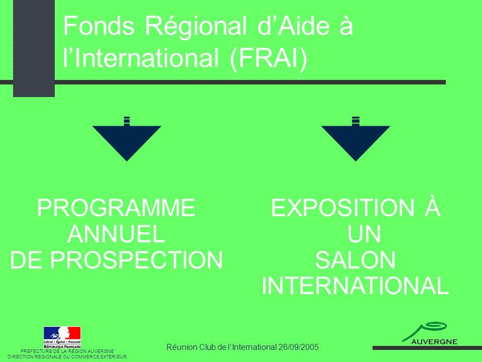 Réunion Club de lInternational 26/09/2005 FRAI : Programme annuel RÉGLEMENTATION COMMUNAUTAIRE Régime de minimis 100.000 sur une période de 3 ans à partir de loctroi de la dernière aide.