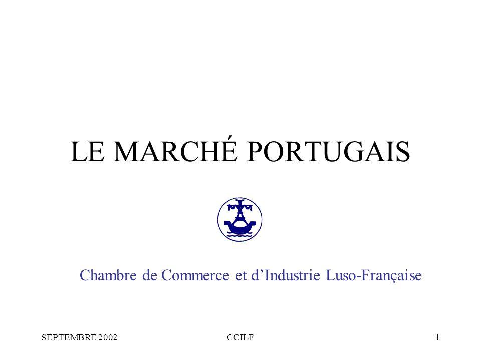 SEPTEMBRE 2002CCILF1 LE MARCHÉ PORTUGAIS Chambre de Commerce et dIndustrie Luso-Française