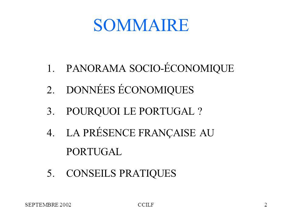 SEPTEMBRE 2002CCILF2 SOMMAIRE 1.PANORAMA SOCIO-ÉCONOMIQUE 2.DONNÉES ÉCONOMIQUES 3.POURQUOI LE PORTUGAL .