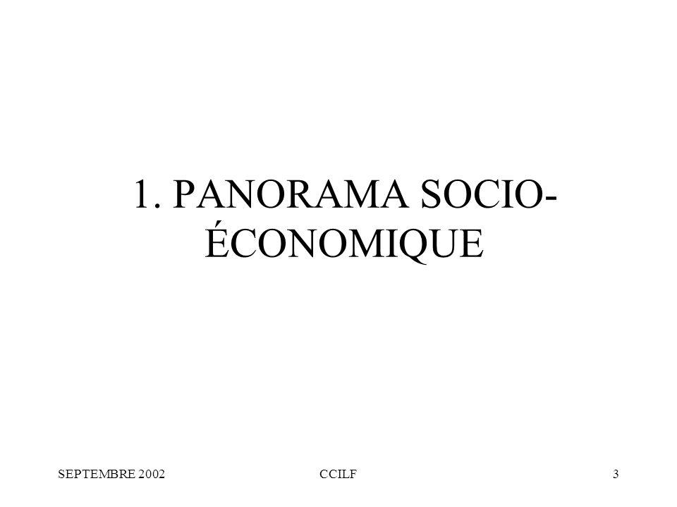 SEPTEMBRE 2002CCILF3 1. PANORAMA SOCIO- ÉCONOMIQUE
