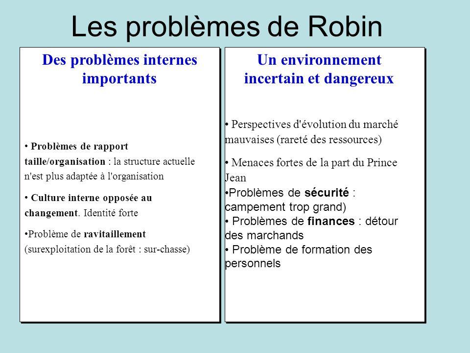 Les problèmes de Robin Des problèmes internes importants Un environnement incertain et dangereux Perspectives d'évolution du marché mauvaises (rareté