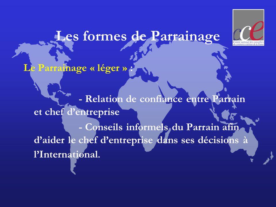 Les formes de Parrainage Le Parrainage « léger » : - Relation de confiance entre Parrain et chef dentreprise - Conseils informels du Parrain afin daid