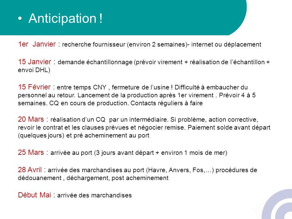 Anticipation ! 1er Janvier : recherche fournisseur (environ 2 semaines)- internet ou déplacement 15 Janvier : demande échantillonnage (prévoir viremen