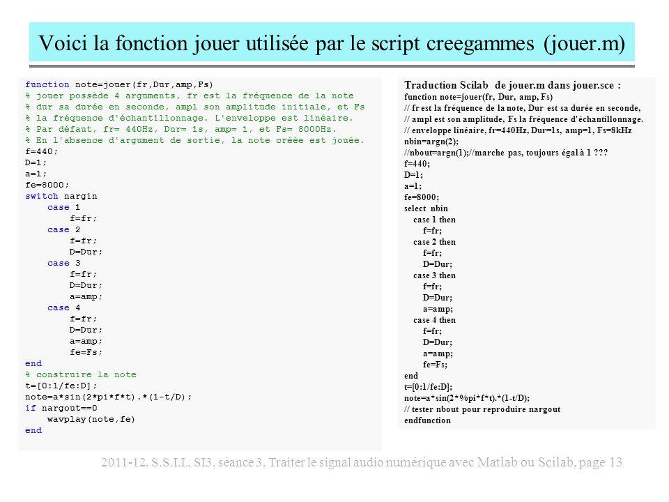 2011-12, S.S.I.I., SI3, séance 3, Traiter le signal audio numérique avec Matlab ou Scilab, page 14 calculer et afficher le spectre avec Matlab % paramétrage N=1024 Fe=44100 D=2; f1=880; % son de cloche s=cloche(f1,D,Fe); wavplay(s,Fe) % spectre fr=[0:N-1]*Fe/N; sp=abs(fft(s,N))/N; plot(fr(1:N/2),sp(1:N/2)) grid xlabel( fréquence Hz ) ylabel( spectre ) title([ spectre , num2str(N),...
