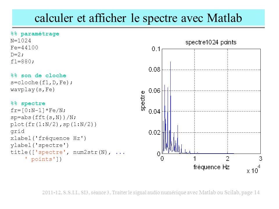 2011-12, S.S.I.I., SI3, séance 3, Traiter le signal audio numérique avec Matlab ou Scilab, page 15 Afficher le spectrogramme avec Matlab % spectrogramme d un arpège s=cloche(f1,D,Fe); s=[s,cloche(5*f1/8,D,Fe),...