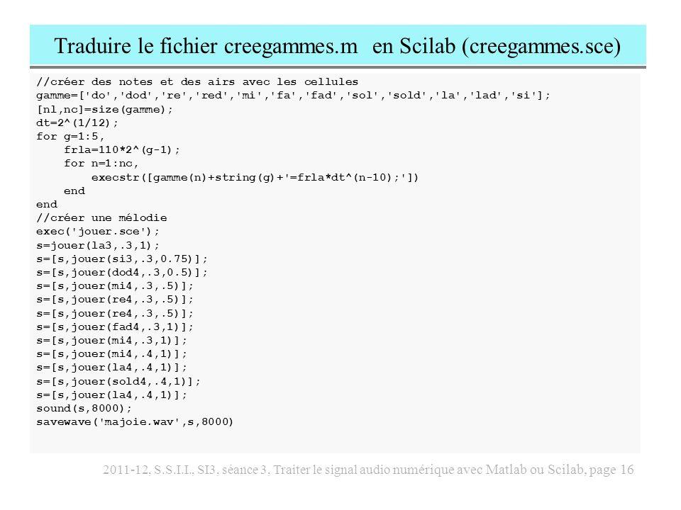 2011-12, S.S.I.I., SI3, séance 3, Traiter le signal audio numérique avec Matlab ou Scilab, page 17 Traduction en Scilab des deux functions synthad et envelop function s = synthad(a,f,p,T,Fe) // s = synthad(a,f,p,T,Fe) // synthese additive // cette fonction cree un son de duree T, // compose des partiels f(n), d amplitude a(n) // et de phase a l origine p(n).